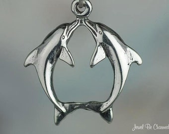 Kissing Dolphins Charm Sterling Silver Dolphin Ocean Love Theme .925