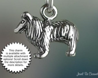 Shetland Sheepdog or Collie Charm Miniature Sterling Silver Dog Tiny