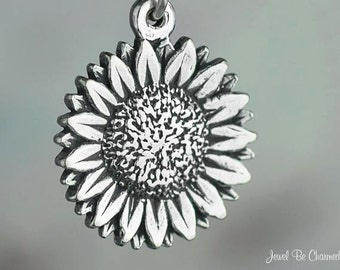 Sterling Silver Sunflower Charm Cheerful Garden Fall Flower Solid .925