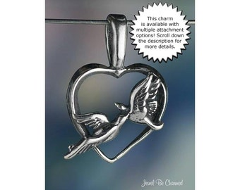 Lovebirds CHARM or PENDANT Sterling Silver Birds with Heart for Love