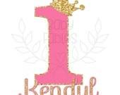 PERSONALIZED Birthday IRON ON transfer Birthday Girl Birthday Birthday Party Iron on Gold and Pink 1st Birthday First Birthday Crown