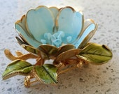 "Vintage Rare COROCRAFT signed Blue Gold enamel flower 2-1/2"" Brooch excellent condition"