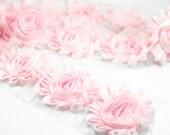Baby Pink Shabby Rose Trim…Shabby Flowers…Shabby Flower Rose Trim… Wholesale Shabby Flower Trim - 1/2 or 1 yard