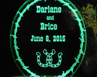Western Barbed Wire Wedding Cake Topper... Custom Engraved Personalized - Light Extra