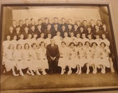 Antique Photograph Class Photo Students Teacher Chicago Gentzel Studio Black and White Photo