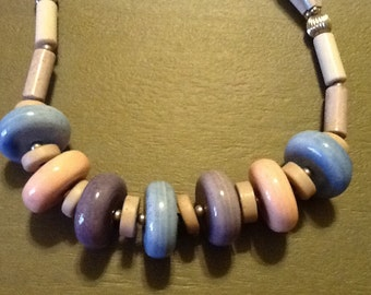 Vintage Pastel Beaded Necklace JAPAN Ceramic Beads in Blue, Purple Pink
