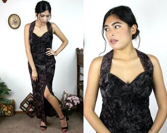 Vintage 80s Brown Velvet Maxi Cocktail Sleeveless Dress Sz Small