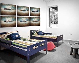 Vintage Wwii Airplanes On Sky Background Setof 6 Canvas Prints, Airplane Wall decor, Boys Room Decor, Airplane Wall Art