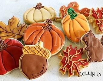 Fall Cookies, Pumpkin Cookies, Fall Leaf Cookies, Acorn Cookies, Squirrel Cookies, Thanksgiving Cookies - 1 Dozen