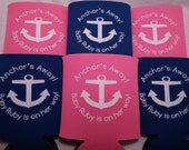 Nautical Baby Shower favors Can Coolers design Anchors away lot of 75 custom can coolers  - Stock Art Available