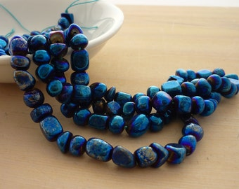Blue coated pyrite nugget beads 4-6mm 1/2 strand