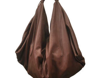 Hobo leather bag ,Medium sized in Castagno brown  ,named Dimitra MADE TO ORDER