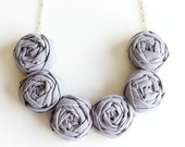 Gray necklace, Gray fabric flower necklace, Gray statement necklace
