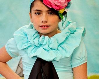 Girl's Aqua Couture ruffled T shirt