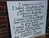 I Believe in Pink Audrey Hepburn Quote SIGN Subway Distressed White Handmade Hand-painted Wooden Custom 24x24 Whagn