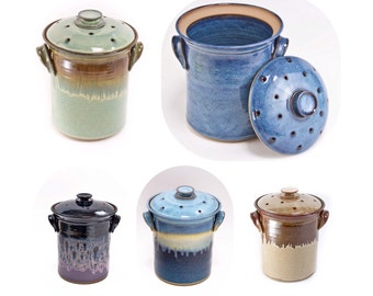 Hand Thrown Pottery Compost Jar with Filter Holding Ventilated Lid your choice of glaze. Made to order-->> up to 6 weeks