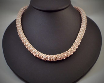 Rose Gold Colored Captured Pearl Chainmaille Necklace
