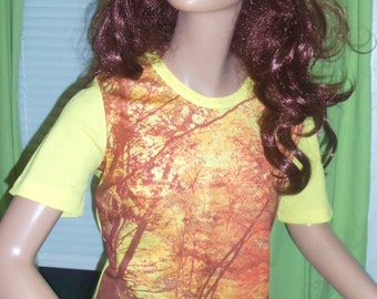 70s Woodsy Polyester Tee from New Zealand Unisex MEDIUM