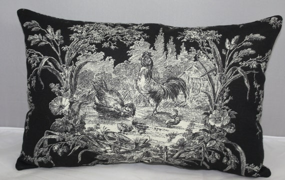 lumbar pillow waverly black and white blackbird toile 14 x 9. Black Bedroom Furniture Sets. Home Design Ideas