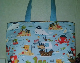Ready to ship pirate animals tote/ diaper bag