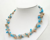 Gemstone Chips Crochet Necklace, Braided necklace, Gemstone Necklace, Handcrocheted Necklace, UK Seller