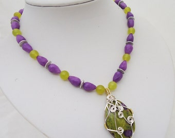 Wire Wrapped Jasper and Jade Necklace, Statement Wire Wrapped Necklace, Purple and Yellow Necklace, Gemstone Necklace, UK Seller