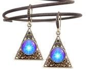 "Blue Violet Pyramid Earrings, Chakra Art, Boho Jewelry, Reiki Healing Energy ""Hope"""