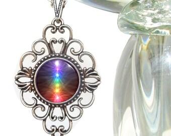 "Unique Rainbow Jewelry, Reiki Attuned Energy Art Necklace  ""Chakra Balance"""