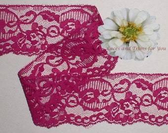 Plum Lace Trim 10/20 Yards Scalloped Floral 2-1/2 inch wide Lot H20E Added Items Ship No Charge