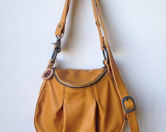 Yellow Leather Handbag- mustard bag- mustard crossbody bag- yellow leather crossbody bag- made to order- leather handbag