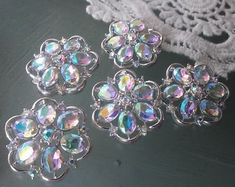 10 Silver Metal AB Rhinestone Buttons  25 mm, Silver Flower Shaped Metal Button, Bridal Accessory Embellishment