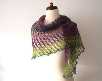 wool lace shawl, handknit lace, purple green teal
