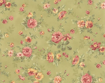 Roses & Chocolates - Spaced Floral in Sage by Sentimental Studios for Moda Fabrics
