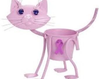 "SPECIAL PRICE- Breast Cancer"" Pink Cat Garden Planter"