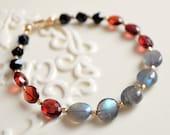 Beaded Gemstone Bracelet, Labradorite Garnet Black Onyx, Gold Filled Jewelry, Stacking, Genuine Stone, Free Shipping