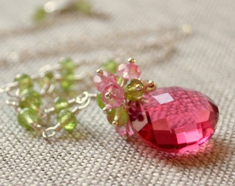 Peridot Necklace, Coral Pink Gemstone Focal, Gold or Sterling Silver, Genuine August Birthstone, Pink Topaz, Bridal Jewelry, Free Shipping