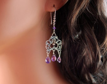 Amethyst Chandelier Earrings, Grape Purple, Semiprecious Gemstones, February Birthstone, Oxidized Sterling Silver Jewelry, Free Shipping