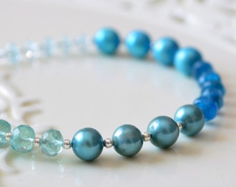 Beaded Bracelet, Blue Topaz, Apatite, Aquamarine Gemstone, Real Freshwater Pearl, Teal, Sterling Silver Jewelry - Free Shipping