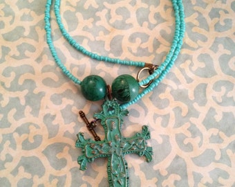 Turquoise Patina Cross Necklace