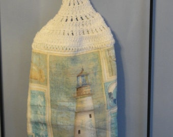 Crocheted double lighthouse kitchen towel