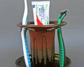 Toothbrush Holder Large Capacity 6 Slot in Oiled Mahogany Iron Red and Black Speckled Glaze