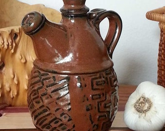 Olive Oil Bottle Double Lidded Texture in Iron Red Brick READY TO SHIP