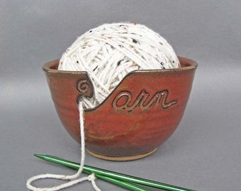 Yarn Bowl Iron Red (As Featured in Vogue Knitting) Large Size Fits Whole Skein