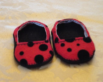 """18"""" Doll Shoes -Red with Black Polka Dots Slip Ons"""