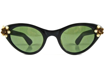 SALE black cat eye sunglasses with pearls and floral decoration. non rx green tinted lenses.
