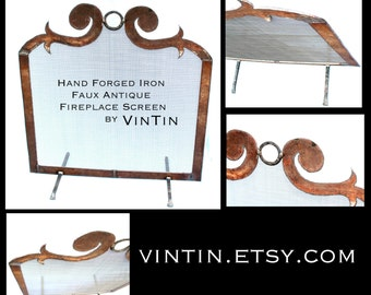 Made to Fit Your Fireplace Hand Forged Iron Faux Antique Fireplace Screen by VinTin (Item # F-220)