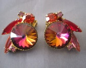 Vintage Gold Tone Red Pink Aurora Borealis Juliana Earrings