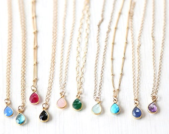Gorgeous Custom Gemstone Teardrop Necklace // 14K Gold Filled Custom Chain // Simple everyday layering jewelry // Bridesmaids Jewelry Set