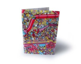 Wheres Wally Waldo Book Cover with Notebook Journal - Upcycled Wrapping Paper in Vinyl