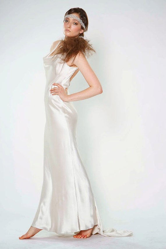 Low Back Sheath Silk Charmeuse Wedding Dress